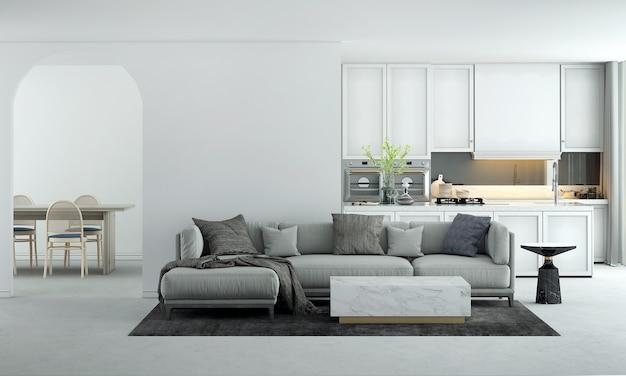 가정 및 장식 가구는 현대 거실과 식당 및 흰색 부엌과 빈 벽 질감 배경의 인테리어 디자인을 조롱