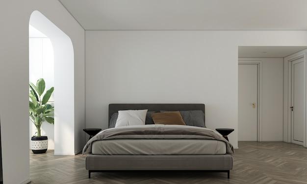 가정 및 장식 가구와 침실과 빈 흰색 벽 질감 배경 3d 렌더링의 인테리어 디자인을 모의