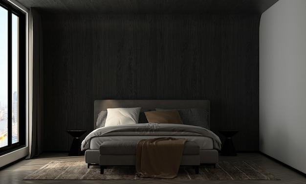 가정 및 장식 침실과 나무 벽 질감 배경 3d 렌더링의 가구와 인테리어 디자인을 모의