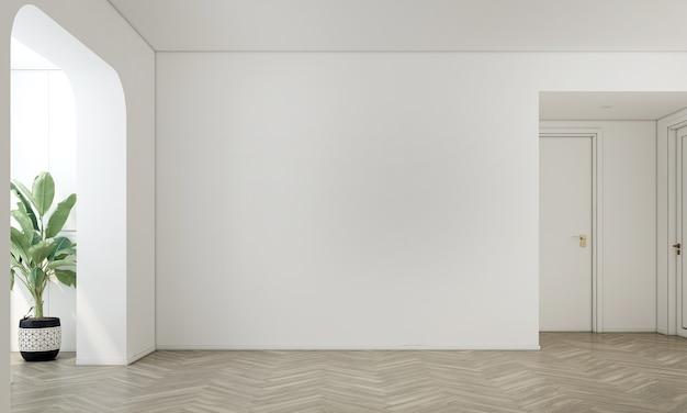 가정 및 장식 빈 거실과 흰색 벽 질감 배경 3d 렌더링의 가구와 인테리어 디자인을 모의
