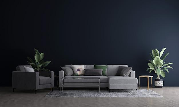 가정 및 장식 거실과 검은 벽 질감 배경 3d 렌더링의 가구와 인테리어 디자인을 모의