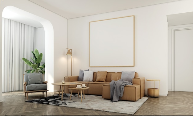 가정 및 장식 가구와 거실의 인테리어 디자인과 흰 벽 질감 배경 3d 렌더링에 빈 프레임 캔버스를 모의