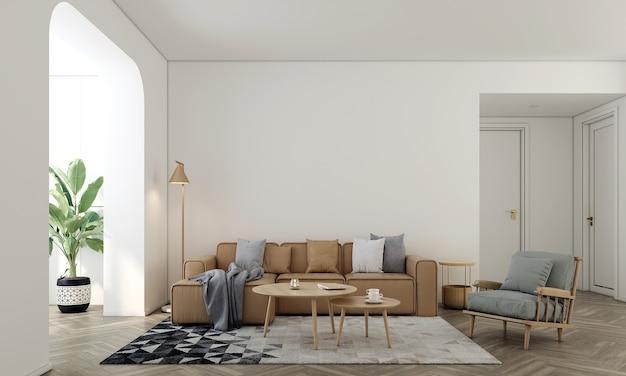 가정 및 장식 가구 및 거실과 빈 흰색 벽 질감 배경 3d 렌더링의 인테리어 디자인을 모의