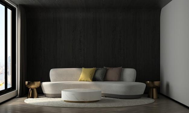 가정 및 장식 현대 아늑한 거실과 나무 벽 질감 배경 3d 렌더링의 가구와 인테리어 디자인을 모의