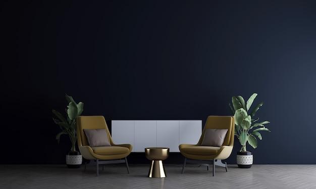 가정 및 장식 현대 거실과 검은 벽 질감 배경 3d 렌더링의 가구와 인테리어 디자인을 모의