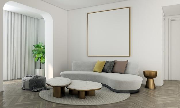 Дом и украшение макет мебели и дизайна интерьера современной гостиной и холста с пустой рамкой на белой стене текстуры фона 3d-рендеринга