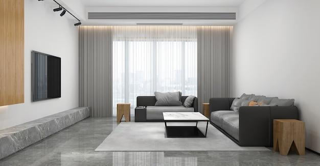 가정 및 장식 현대 거실과 빈 흰색 벽 질감 배경 3d 렌더링의 가구와 인테리어 디자인을 모의