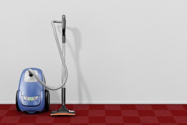 Концепция бытовой техники. современный пылесос в пустой живущей комнате с крупным планом крайней красной ковровой дорожки. 3d-рендеринг.