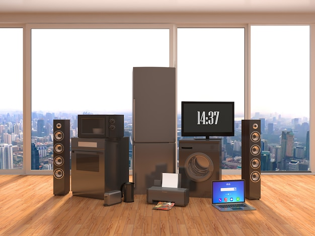 Home appliance in interior. 3d illustration