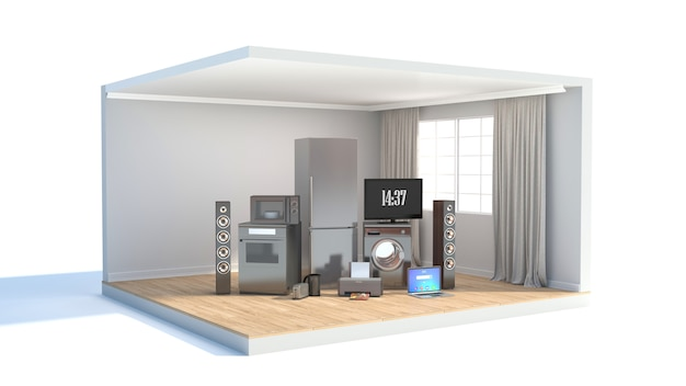 Home appliance with ribbons and discounts in interior