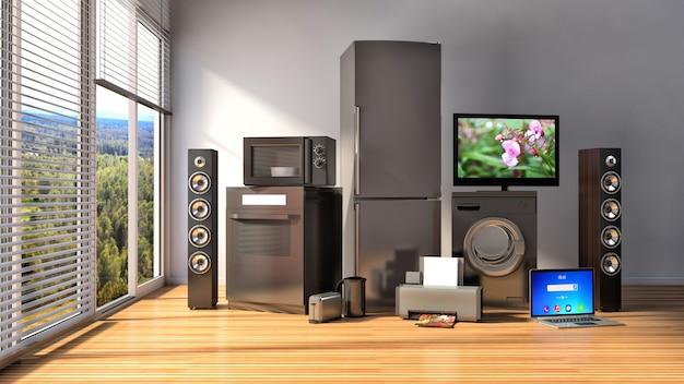 家電。ガスコンロ、テレビシネマ、冷蔵庫、電子レンジ、ラップトップ、洗濯機。 3dイラスト