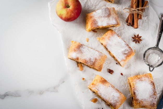 Home autumn, summer baking, puff pastries. apple strudel with nuts, raisins, cinnamon and powdered sugar.