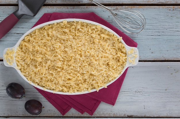 自家製プラムタルトのコンセプト、伝統的な家庭料理