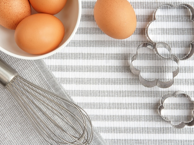 Home baking accessories on gray background