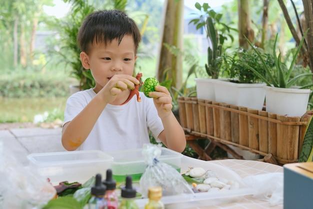 가정 기반 학습, 행복한 미소로 흥분한 아시아 학교 아이가 먹을 수 있는 공룡 알 만들기, 딱딱한 삶은 달걀이 식용 색소로 공룡 알로 바뀌었습니다, 어린이 친화적인 쉬운 과학 실험