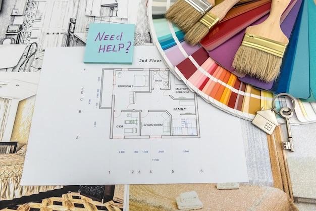 Home blueprint with color palette. design architecrure, house renovation