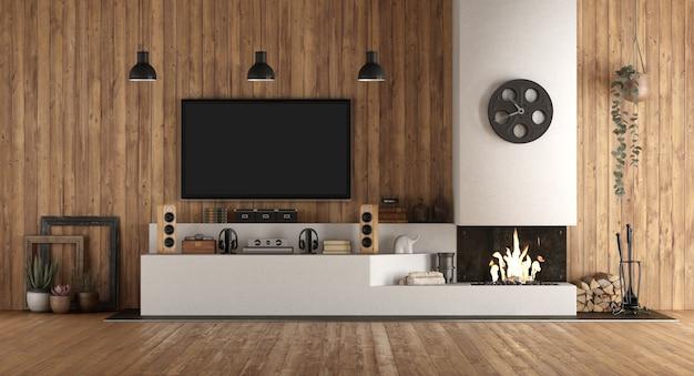 暖炉のある素朴なスタイルのホームシネマ