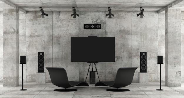 콘크리트 방에있는 홈 시네마 시스템