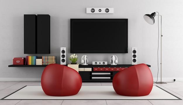 안락 의자가있는 현대적인 객실의 홈 시네마 시스템