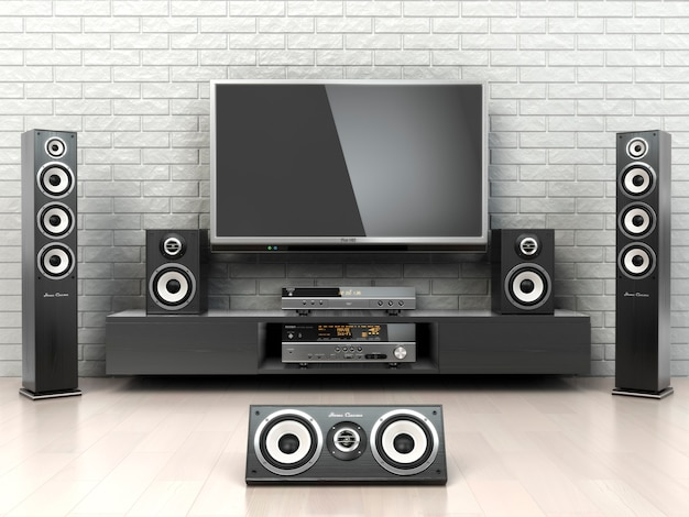 Home cinema system tv  outspeakers player and receiver 3d