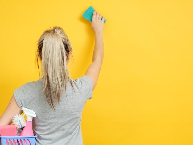 家の掃除。安全で効率的な供給。バスケットセットを持った女性が手を拭く。