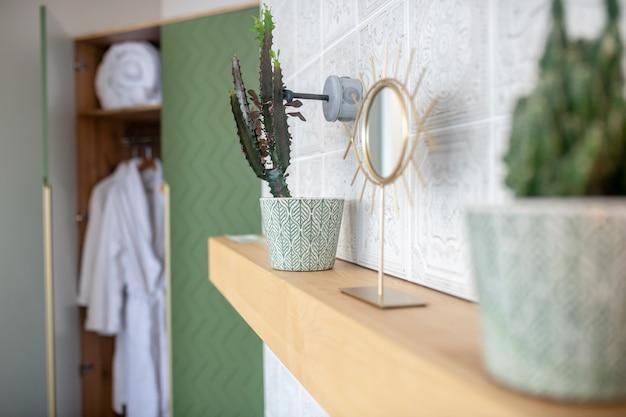 家の快適さ。居間の壁の棚の美しいフレームの屋内植物および鏡および後ろの開いたキャビネット