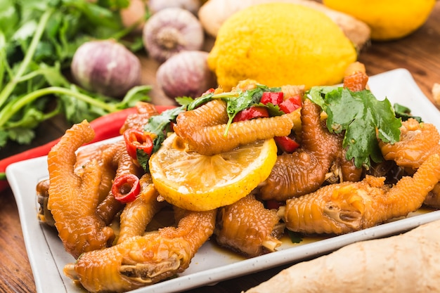 Home cooking: fresh lemon chicken wings,