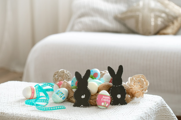 Home cozy interior with easter decor on the table