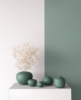 Интерьер домашнего декора, стильная ваза на современном зеленом фоне