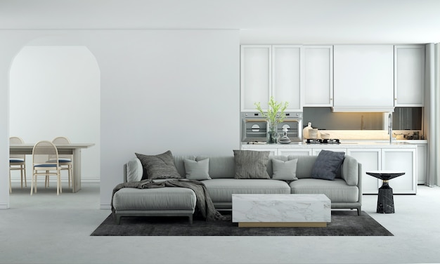Home and decoration furniture mock up interior design of modern living and dining room and and white kitchen and empty wall texture background