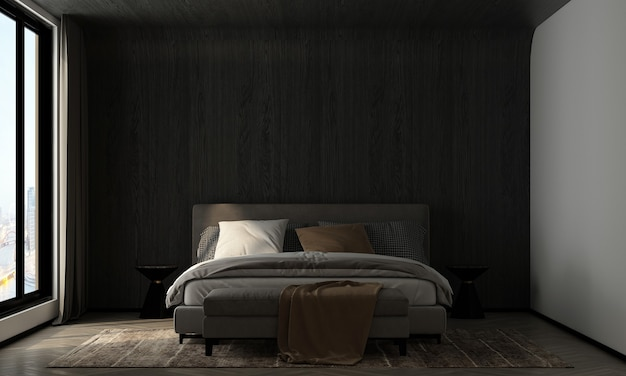 Home and decoration mock up furniture and interior design of bedroom and wooden wall texture background 3d rendering