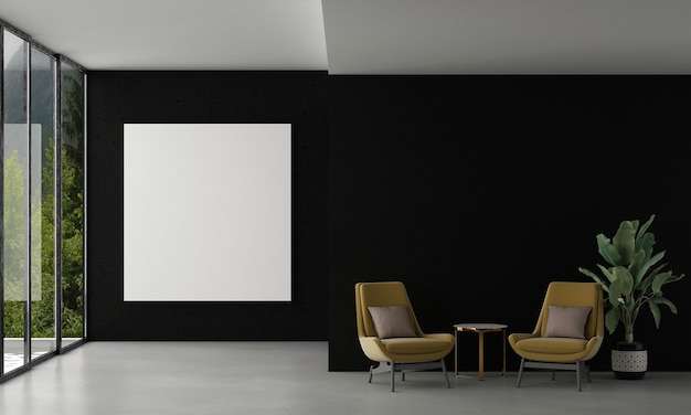 Home and decoration mock up furniture and interior design of living room and empty frame canvas on the black wall texture and forest view background 3d rendering