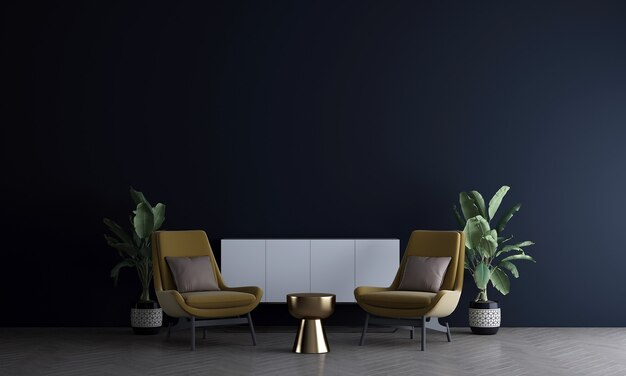 Home and decoration mock up furniture and interior design of modern living room and black wall texture background 3d rendering
