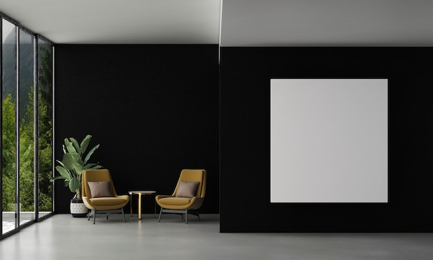 Home and decoration mock up furniture and interior design of modern living room and empty frame canvas on the black wall texture and forest view background 3d rendering