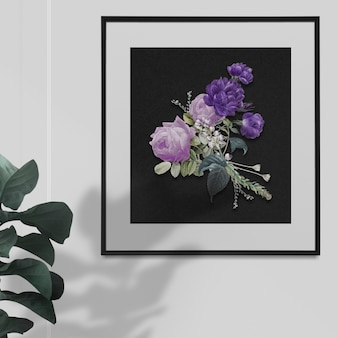 Home decoration purple roses in a frame