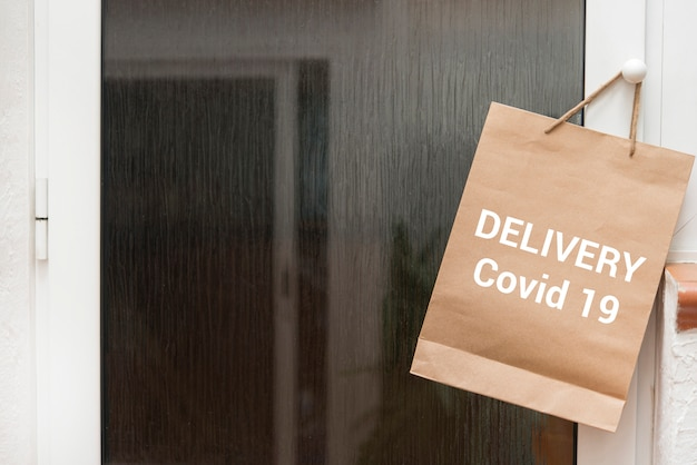 Home delivering some groceries at quarantine time because of coronavirus infection covid-19