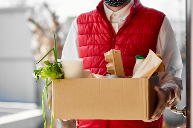 Home delivery food during virus outbreak, coronavirus panic and pandemics.