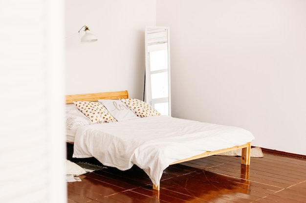 Home design, bed and pillows, interior decoration