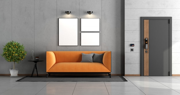 Home entrance with front door and orange modern sofa