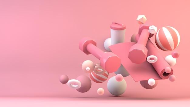 홈 피트니스 장비 최소한의 핑크 3d 렌더링