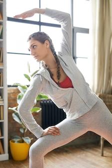 Home fitness, girl exercising