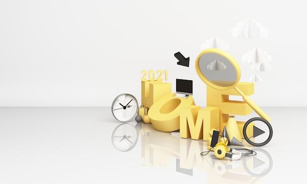 돋보기가있는 노란색의 홈 글꼴. 흰색 배경에 3d 렌더링