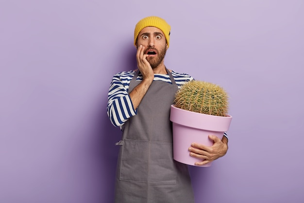 Home gardening concept. stupefied man holds big pot with cactus