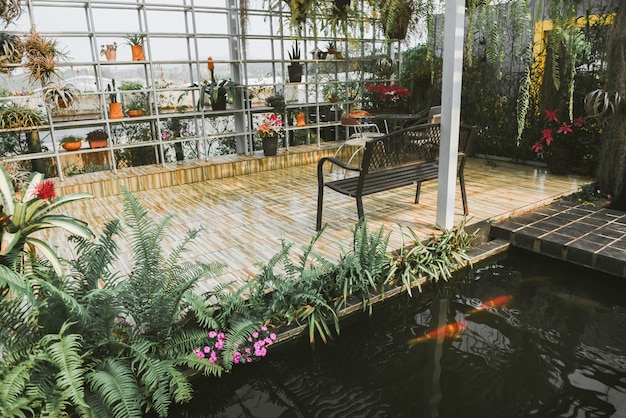 Home gardening and decorating indoor greenhouse environments secret garden and modern gardening setups flowers and plants and greenery in workspaces with set table bench chair