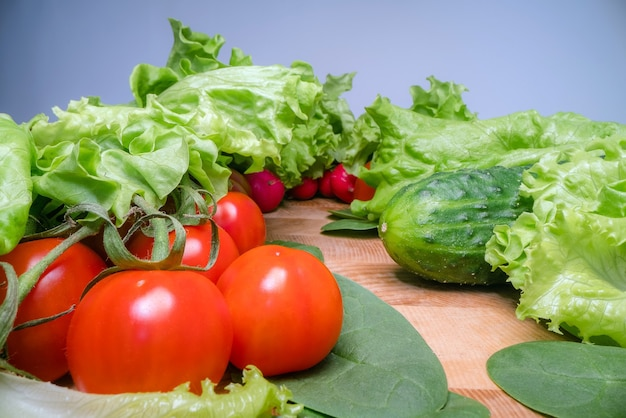 Home grown and harvested vegetables on wooden table background.