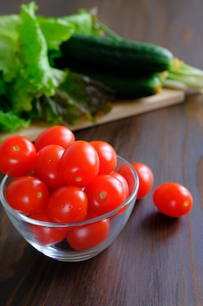 Home-grown vegetables from the garden. the concept of natural organic agricultural products.