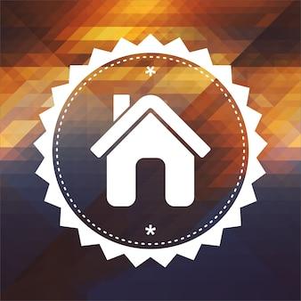 ホームアイコン。レトロなラベルデザイン。三角形で作られた流行に敏感な背景、カラーフロー効果。