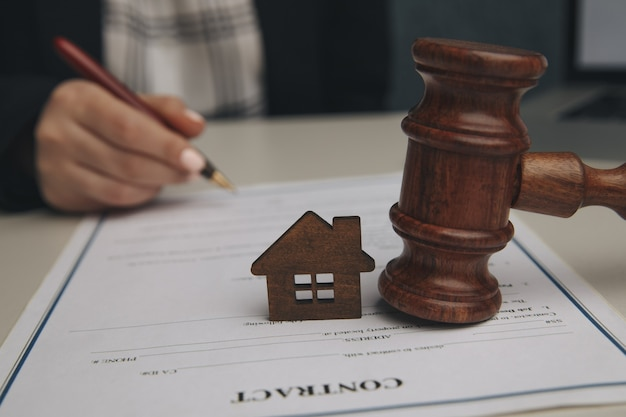 Home insurance, law and justice concept.