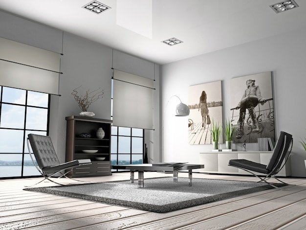 Home interior 3d rendering of living room