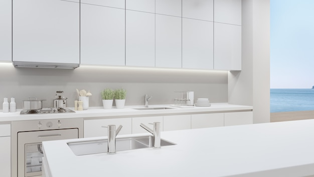 Home interior 3d rendering with empty white top counter and sea view